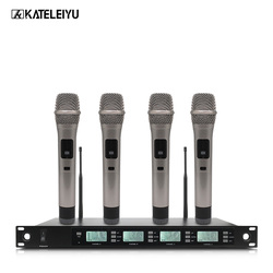 Professional Microphone 200 Channel Optional Frequency 4 Channel Handheld Wireless Microphone System Stage Home KTV Microphone