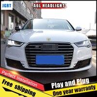 2PCS Car Style LED headlights fo Audi A6L 2012 2016 for A6L head lamp LED DRL Lens Double Beam H7 HID Xenon bi xenon lens