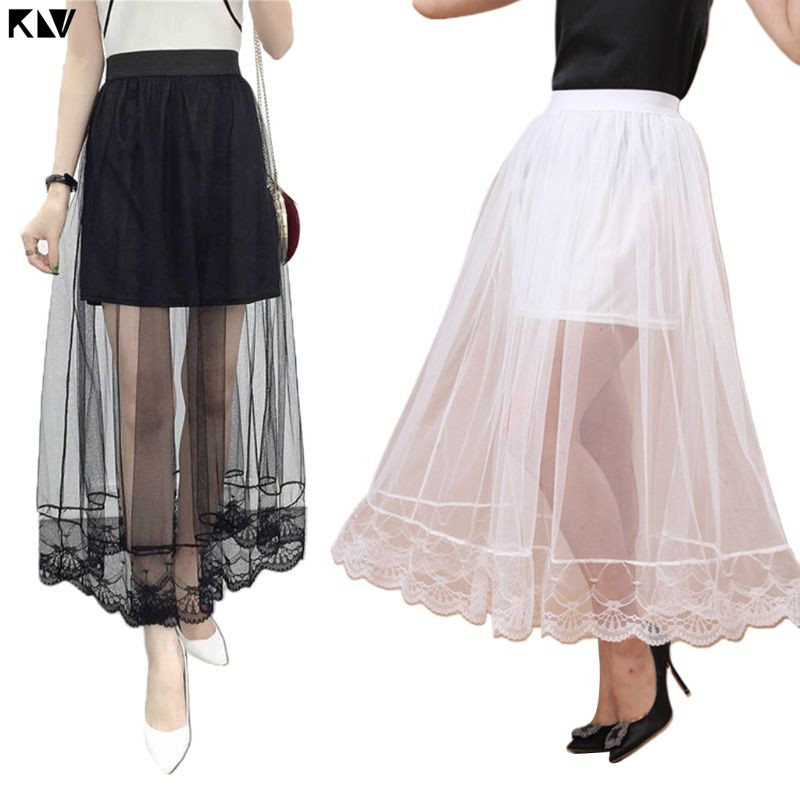 KLV Wedding Party High Waist Lined Maxi Ankle Long Skirt Solid Color Scalloped Lace Trim Pleated Swing Sheer Mesh A-Line Skirt