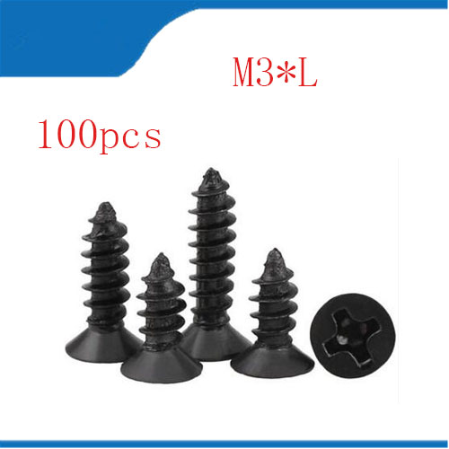 self tapping screw 100pcs/lot m3*6/8/9/13/16/19 Six-Lobe black Torx Flat countersunk head self tapping screw with pin купить