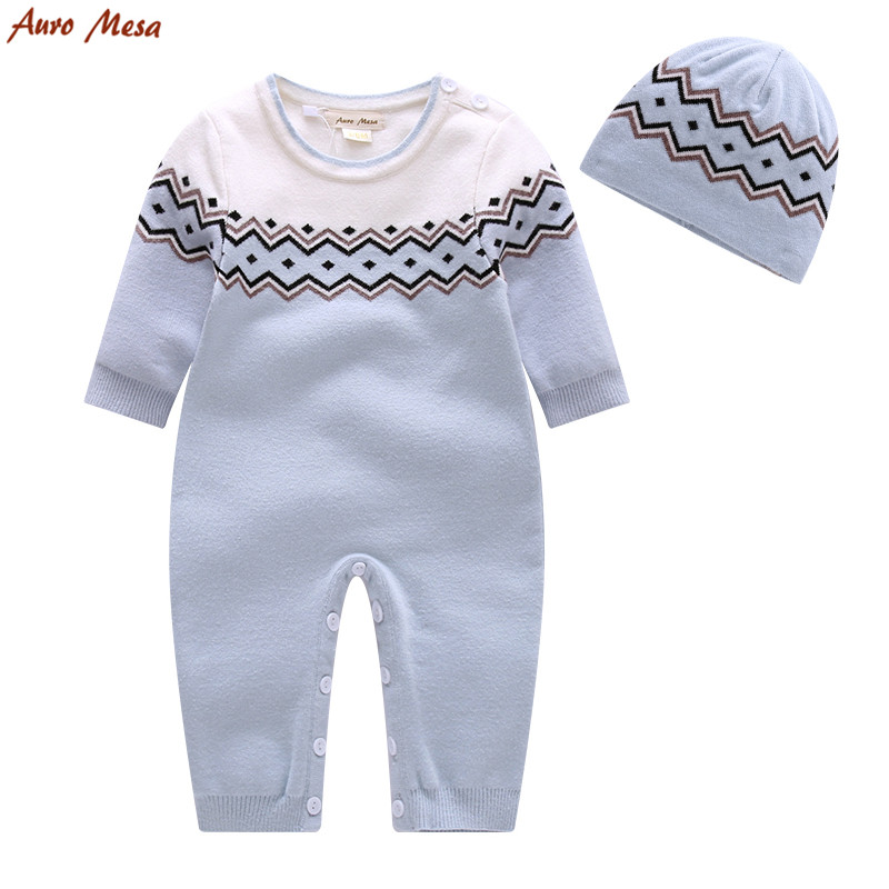 Fashion Winter Baby Boy Clothes Blue Knitted Romper With Cap Thick Infant Boys one piece Warm Jumpsuit knitted skullies cap the new winter all match thickened wool hat knitted cap children cap mz081