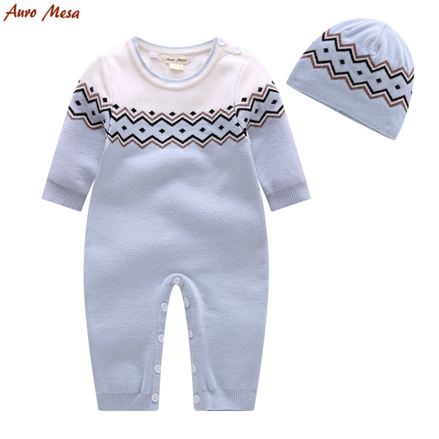 67f5d1e68f69 Fashion Winter Baby Boy Clothes Blue Knitted Romper With Cap Thick ...