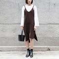 Yichaoyiliang spaghetti strap knitting dress inverno mulheres irregular hem fenda do vintage marrom escuro desigual dress vestido de festa