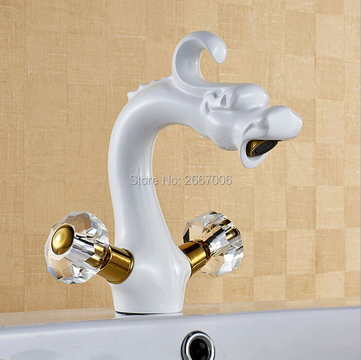 Free Shipping Retro White Painted Dragon Design Basin Faucet brass bathroom faucets Crystal handles Hot and Cold Water Tap ZR580 fashion design goose neck brass robinet bathroom basin tap faucet