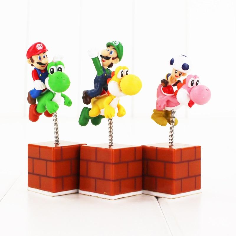 Action & Toy Figures Conscientious New Arrive 3pcs/set Cute 3 Super Mario Bros Yoshi With Mario Luigi Mushroom Spring Shake Figures Model Toys