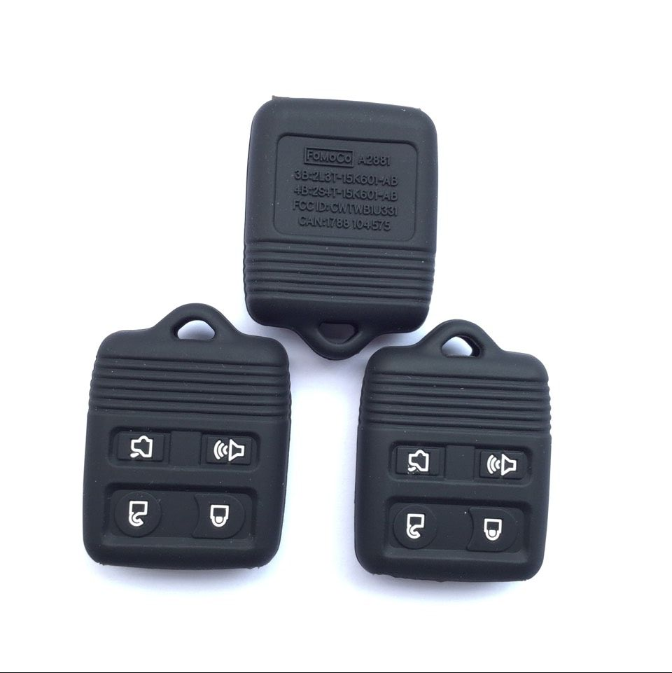 Protective cover 4 button silicone fob key case for ford mustang mercury lincoln remote key bag