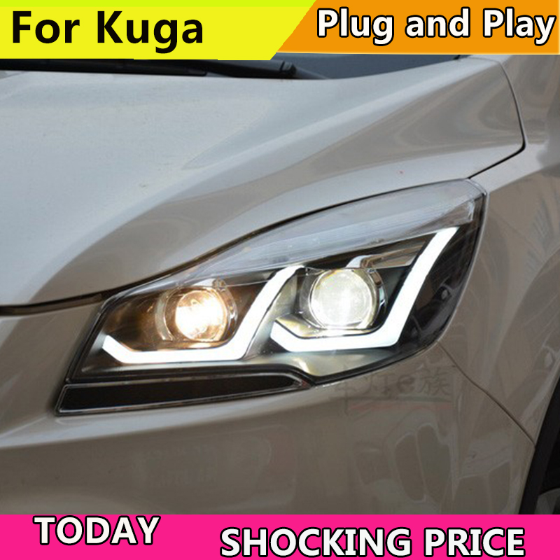 Car Styling Head Lamp for ESCAPE KUGA 2013 2014 2015 Head lamp LED Daytime Running DRL Bi-Xenon Lens HID Automobile Accessories цены