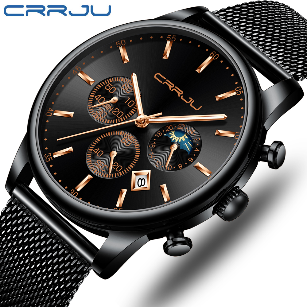 Reloj Hombre CRRJU Top Brand Luxury Men Watches Waterproof Business Date Window Wrist Watch Male Mesh Strap Casual Quartz Clock