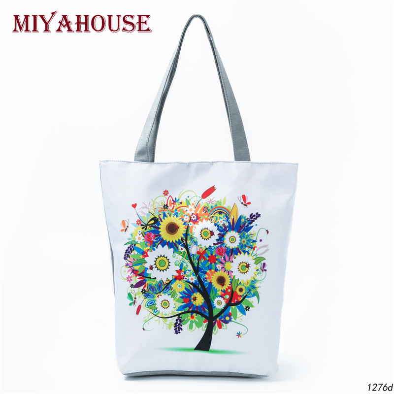 Colorful Tree Print Women Shoulder Bags Summer Beach Bags Female Canvas Tote Handbags New Design Casual Shopping Bags