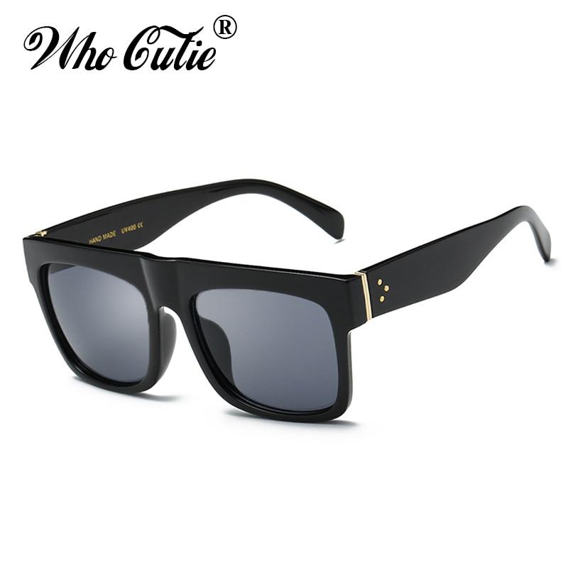 5f0ee6a726 WHO CUTIE 2018 Oversized Square Sunglasses Men Women Brand Designer Vintage  Retro Lady Kim Kardashian Sun Glasses Shades OM140