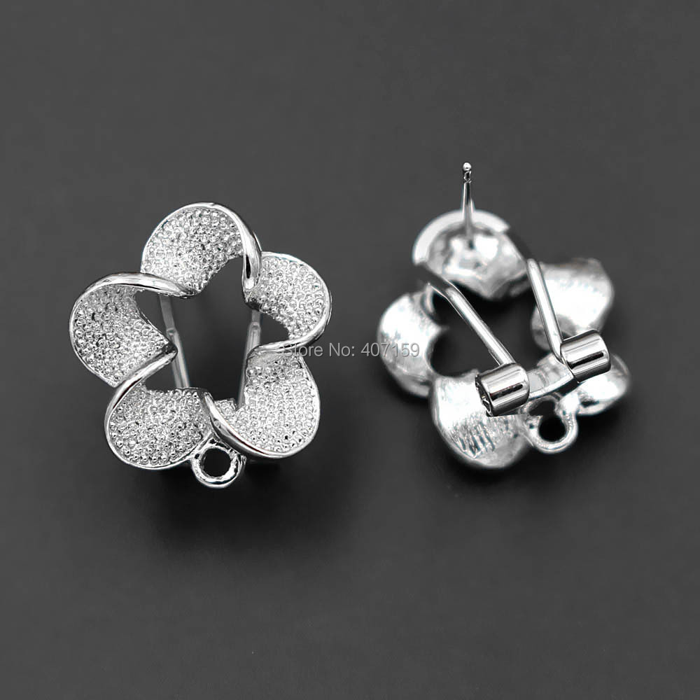 20 x Silver Tone CLIP ON EARRING BLANKS WITH LOOP 14mm Jewellery Findings