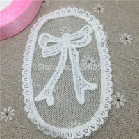 50pcs 10.5x6.8cm White Bow Design Lace Cloth Paste Patch Water Soluble Embroidery Embellishments Scrapbooking Crafts