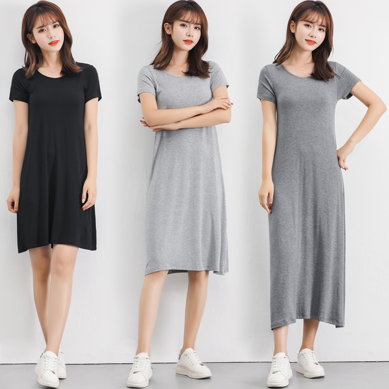 2019 Summer Plus Size Sleepshirt Women Nightgown Soft Modal Cotton Nightdress Female Short Sleeve O-neck Collar Home Sleep Dress