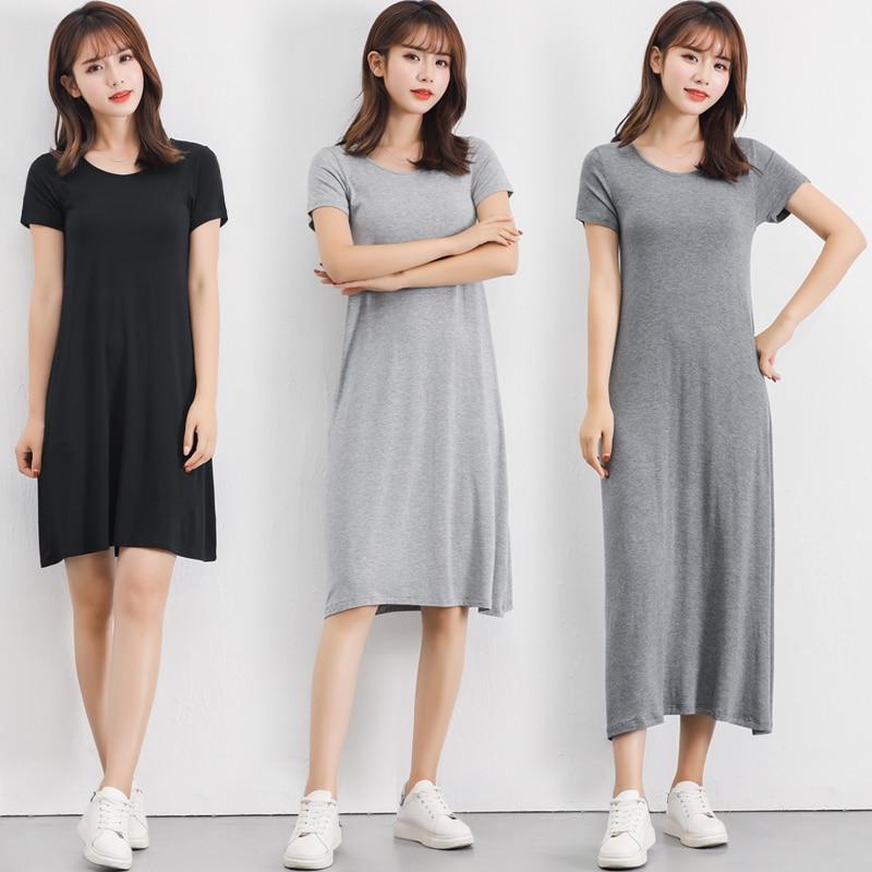 2019 Summer Plus Size Sleepshirt Women Nightgown Soft Modal Cotton Nightdress Female Short Sleeve O-neck Collar Home Sleep Dress