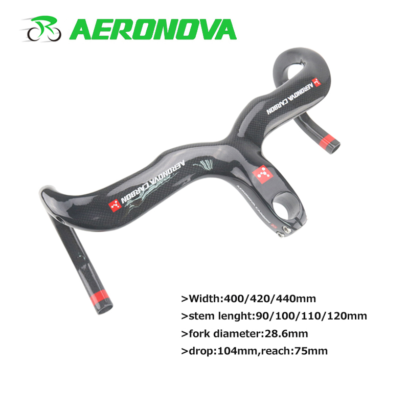 AERONOVA Bicycle <font><b>Carbon</b></font> <font><b>Handlebar</b></font> <font><b>Road</b></font> Bike 3K <font><b>Integrated</b></font> With Stem Handle Bar 28.6mm <font><b>Carbon</b></font> <font><b>Road</b></font> <font><b>Handlebars</b></font> 400/420/440mm image