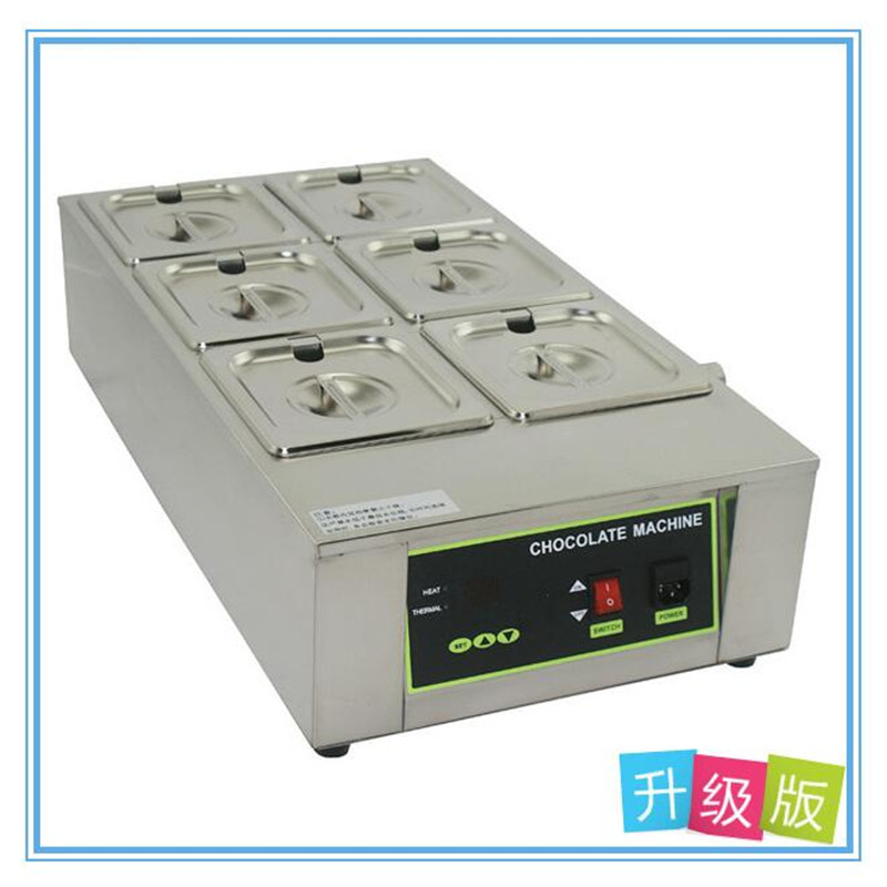 Commercial Digital Display Electric 6 cylinder Chocolate Melting Machine Genuine Chocolate Melting Furnace free shipping 2 tanks digital series chocolate melting machine 8kg capacity solid butter melting furnace
