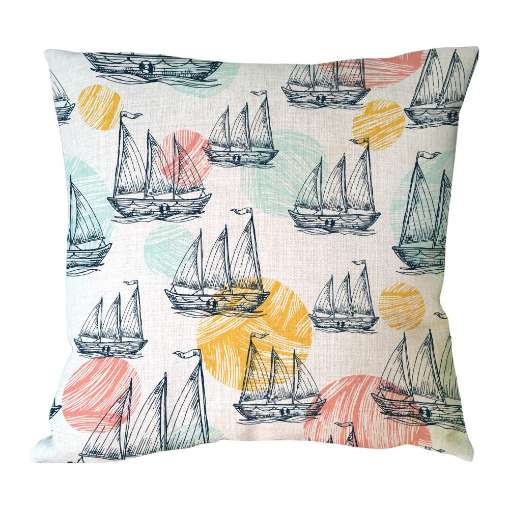 various Sailing boat printed customized cushion cover retro vintage decoration for home cotton linen throw pillow case
