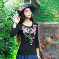 Autumn National New T Shirts Women Spring Black Green Red White Blue Embroidery Flowers Basic Large Size Cotton T Shirt