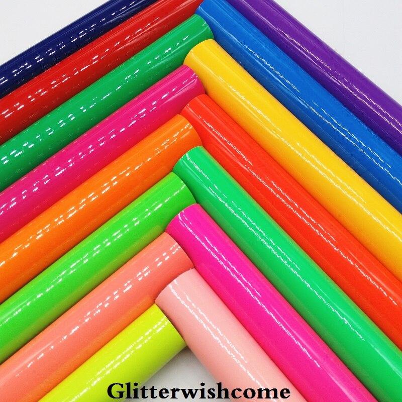 Glitterwishcome 21X29 см A4 Размеры синтетическая кожа, Fluo лакированной гладкой кожи, искусственная кожа PU Ткань Винил для Луки, GM024A