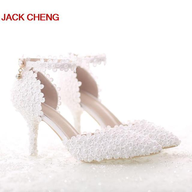White Middle Heel Lace Flower Wedding Shoes Pointed Toe Stiletto Party With Ankle Strap