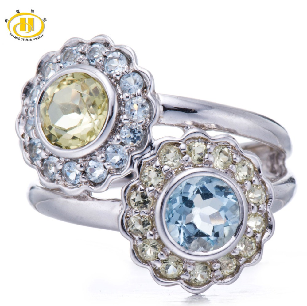 HUTANG Natural Aquamarine & Lemon Quartz Gemstone Solid 925 Sterling Silver Flower Ring Fine Jewelry Fashion Style
