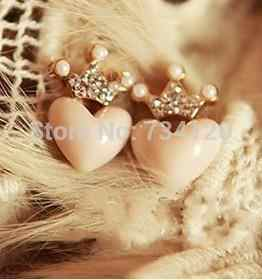 Wholesale  Crystal Korean jewelry Fresh rhinestone crown love heart all-match imitation pearl Earrings for women