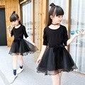 Vestido de la muchacha Negro Niña de Manga Larga Ropa de Primavera 2017 de La Princesa Niños Vestidos Para Niñas Niño infantil Ropa