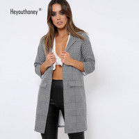 Grid Long Jackets Turn Down Collar Long Sleeve Boyfriend Womne Jackets Fashion Elegant Autumn Winter Spring