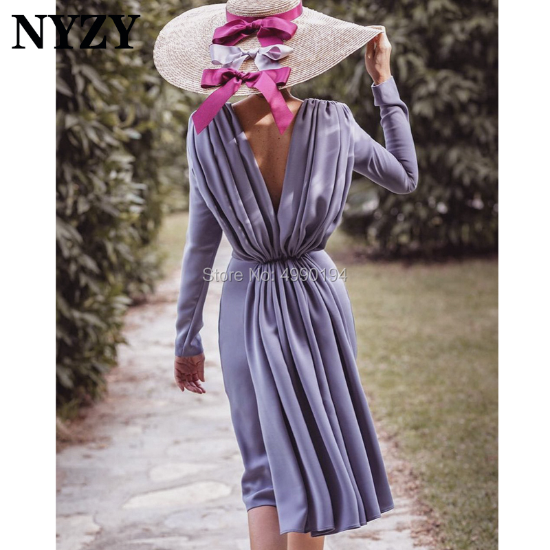 Robe Cocktail Dresses NYZY C198 Chiffon Long Sleeves Tea Length Formal Dress Party Prom Homecoming 2019