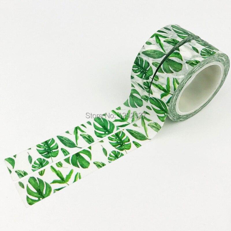 Summer Fresh Plant Green Washi Tape 15mm BOHO Washi Tape Leaves Washi Tape Spring Summer Washi Tape