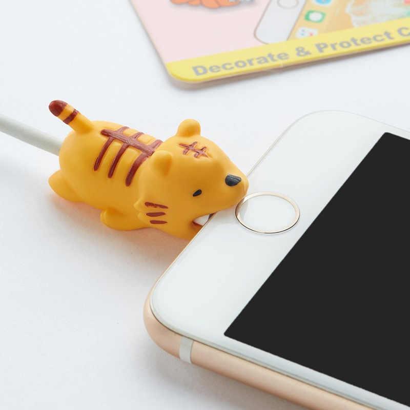 Fffas animal cabo mordida protetor japão dobadoura bonito dos desenhos animados boca proteger caso fio organizador titular para iphone 7 8 x plus