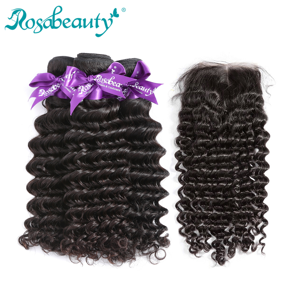 Deep Wave Human Hair Bundles With Closure Frontal 30 Inch Brazilian Weave Bundles With Lace Closure