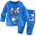 new cotton Long sleeve boy's pajamas bedgown kid's sleepcoat children's pyjamas boy's nighty Cartoon blue man modeling sets