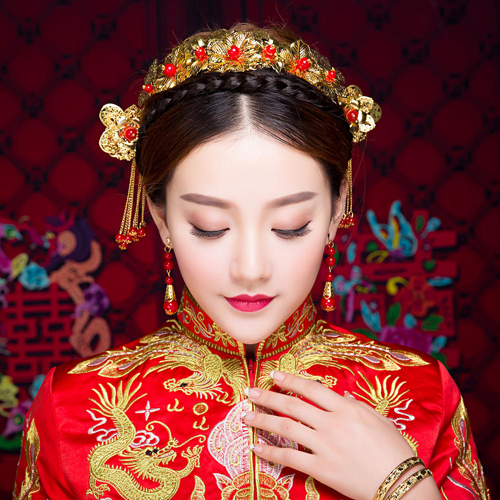 Chinese Traditional Wedding Headdress Bridal Hair ...