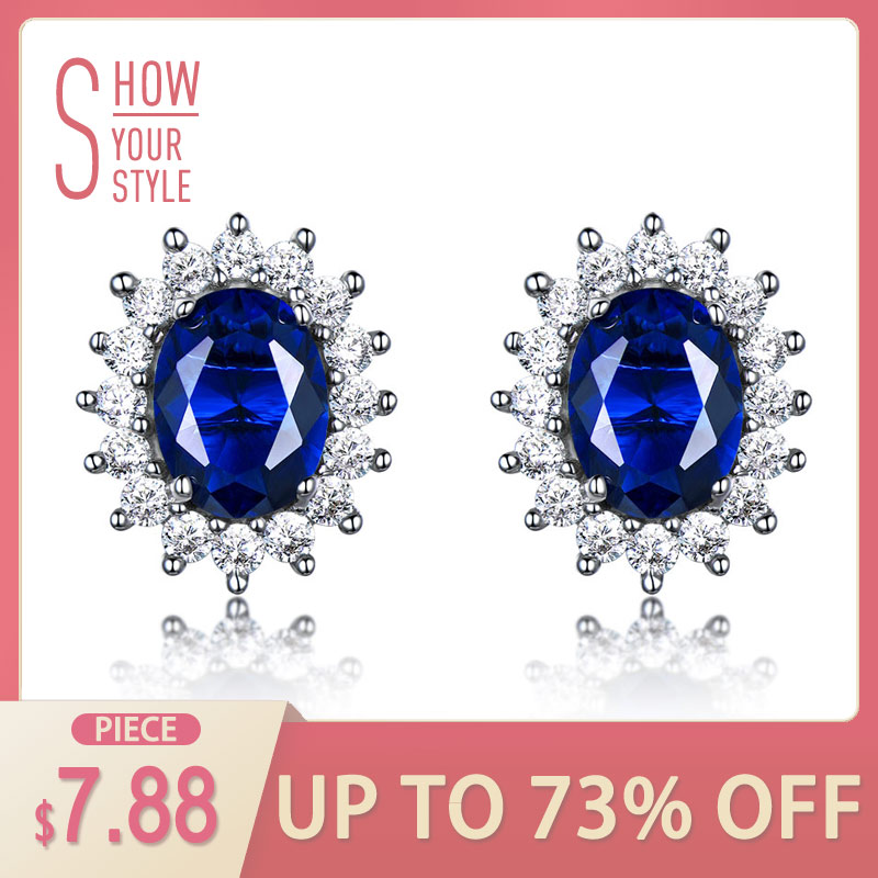 UMCHO Mewah 925 sterling silver earrings 6 * 8mm Dibuat Biru Sapphire Wedding Party Jewelry Merek Fine Jewelry Earrings Untuk Wome