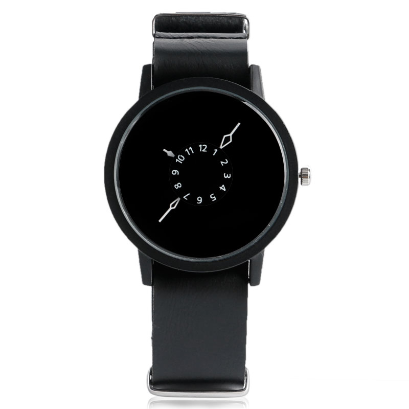 Unique Turntable PU Leather Strap Round Dial Quartz Wrist Watch Women Men Cool Brief Sport Band Casual Modern Simple Gift