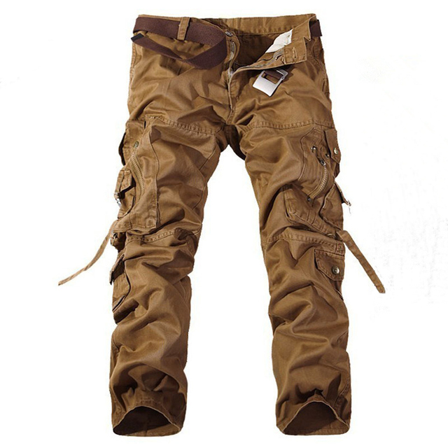 Men's Multi-Pockets Casual Camouflage Pants High Quality Cotton Cargo Military Army Trousers Men Straight Casual Pants