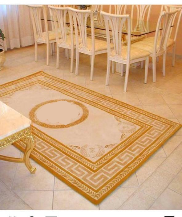 2x2m Arcylic Carpet Customized Carpet Orange Yellow Beige Head Pattern, Luxury Home Decoration Carpet