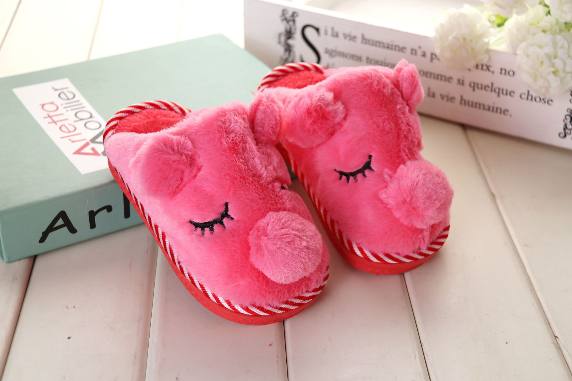 Kids Winter Warm Cotton Slippers Baby Girls Boys Home Shoes Children
