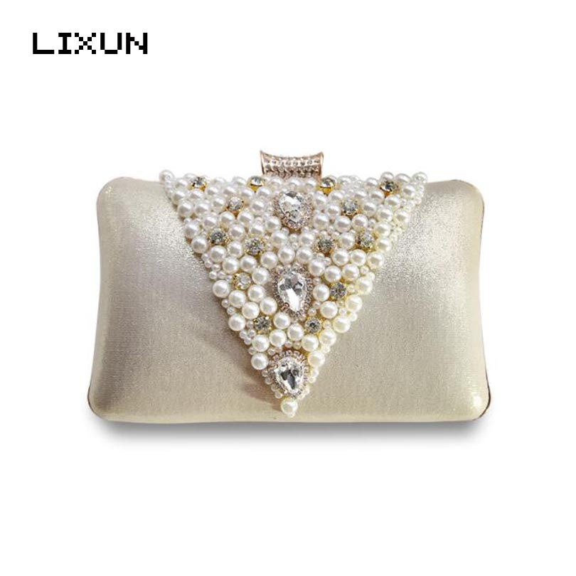 LIXUN Luxury Crystal Evening Bags Diamond Evening Clutch Bag Wedding Pearling Purses And Chain Handbags Women Party Wallets new sequin clutch bag finger ring evening bag hard box clutch chain sshoulder bag crossbody bags for women purses and handbags