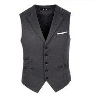 Mens Vest Suit Slim Fit Wool Blend Single Breasted Gray Black Waistcoat Men Waist Coat for Man