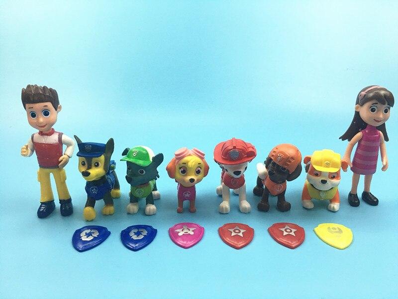 8 шт. фигурки для собаки собак аниме куклы patrulla canina Juguetes перебирали рисунок патрулирование щенок с пластиной ...