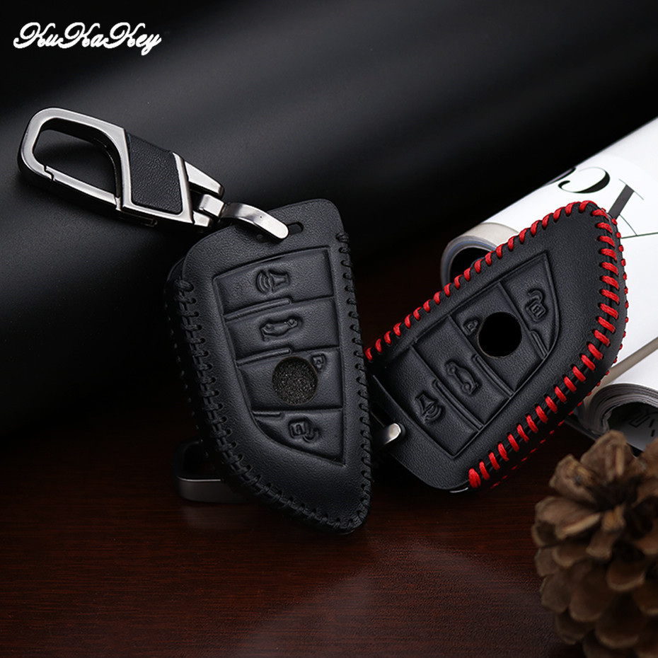 KUKAKEY Red Line Car Key Case Cover For BMW F30 F20 X1 X3 X5 X6 X7 E30 E34 E90 E60 E36 E39 Key Shell Fob Best Birthday Present