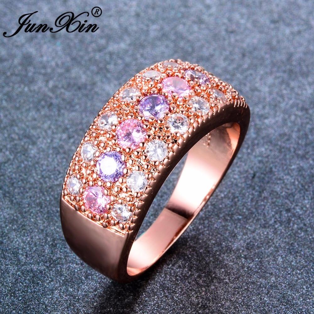 JUNXIN Luxury Female Pink Purple Ring 2018 Fashion Rose Gold Filled ...