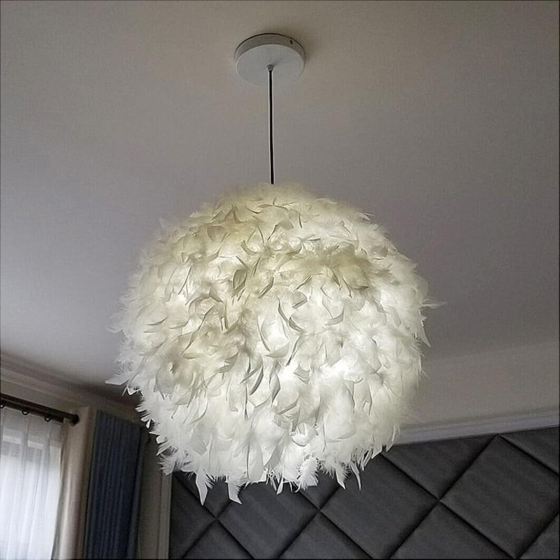 US $36.9 |modern luminaire suspendu hanging feather lamp pendant light E27  led fixtures loft decor lampe de chevet de chambre restaurant-in Pendant ...