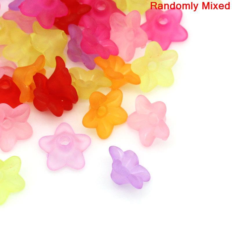 DoreenBeads 800 шт., Смешанные Цветочные Матовые акриловые бусины 10x4 мм (B12046), yiwu