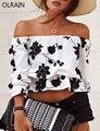 Olrain Женская Мода Slash Шеи Цветочный Печати Свободные Топы Sexy Бретелек С Плеча Повседневная Растениеводство Top-6820