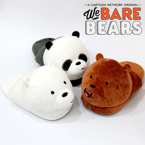 Anime We Bare Bears Grizzly Panda Soft Plush Stuffed Slippers Household Slippers Cartoon Cotton Shoes Costume Fashion Cute Gifts