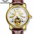 Luxury Brand GUANQIN 2015 Fashion Casual Tourbillon Watches Men Gold Wristwatches automatic Mechanical Watches 5 Color Stylish