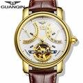 Marca de lujo guanqin 2015 moda casual relojes tourbillon relojes mecánicos automáticos de los hombres relojes de pulsera de oro de 5 colores con estilo